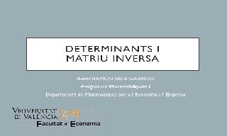 Determinants i matriu inversa