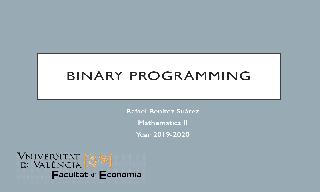 Introduction to binary programing. Backpack problem