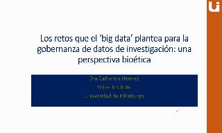 "Imagen de la portada del video;""The challenges posed by Big Data for the governance of research data: A bioethics perspective"""