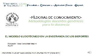16) El modelo ludotécnico en la enseñanza de los deportes (Ana Cordellat Marzal)