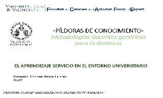 19) El aprendizaje servicio en el entorno universitario (Cristina Blasco Lafarga)