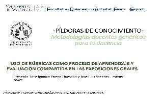 04) Uso de rúbricas como proceso de aprendizaje y evaluación compartida en las exposiciones orales (José Ignacio Priego Quesada)