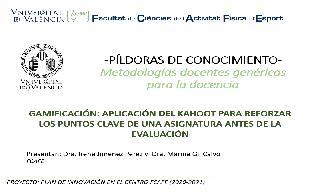 05) Gamificación: Aplicación del Kahoot para reforzar los puntos clave de una asignatura antes de la evaluación (Irene Jiménez Pérez/Marina Gil Calvo)