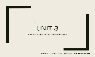 Theory Lecture: Unit 3 of Mathematics II course of ADE - An Introduction to Linear Program